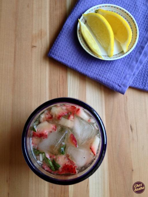 Stawberry-basil hard lemonade
